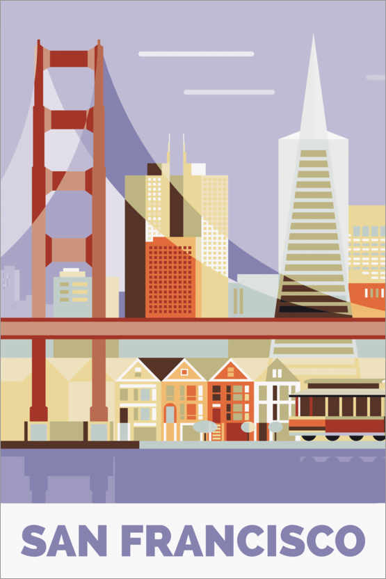 Premium-Poster golden gate bridge san francisco