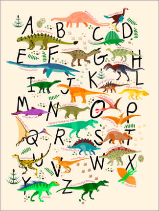 Acrylglasbild  Dino-Alphabet - Kidz Collection