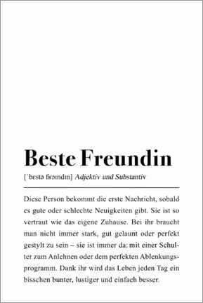 Premium-Poster  Beste Freundin Definition - Pulse of Art