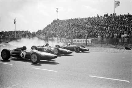 Leinwandbild  Jim Clark, Graham Hill and Bruce McLaren am Start, Zandfoort 1963