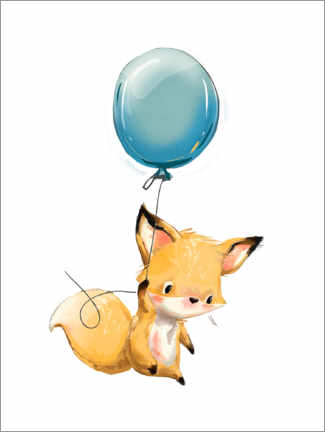Acrylglasbild  Kleiner Fuchs mit Ballon - Kidz Collection