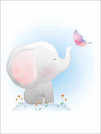 Gallery Print  Elefant und Schmetterling - Kidz Collection