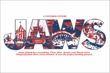 Gallery Print  Jaws - Perfect feeding ground, white