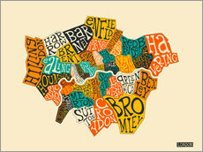 Gallery Print  London Boroughs - Jazzberry Blue