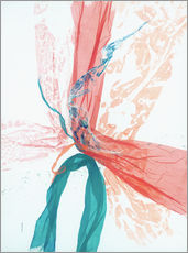 Wandsticker  Peach and Teal abstract - Jan Sullivan Fowler