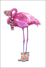 Wandsticker  Rosa Flamingo mit Gummistiefeln - Kidz Collection