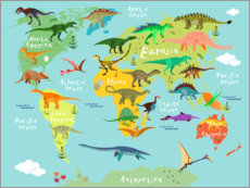 Wandsticker  Dinosaurier-Weltkarte (Englisch) - Kidz Collection