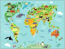 Wandsticker  Animal Worldmap - Kidz Collection