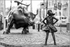 Holzbild  Fearless Girl und Wall-Street-Bulle - Art Couture