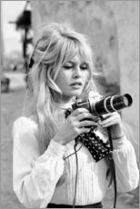 Hartschaumbild  Brigitte Bardot mit Kamera - Celebrity Collection