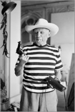 Premium-Poster  Picasso mit einem Revolver - Celebrity Collection