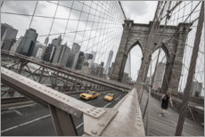 Premium-Poster  Brooklyn Bridge mit gelben Taxis - nitrogenic