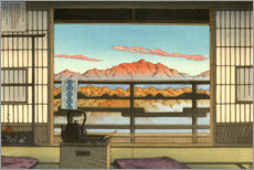 Holzbild  Morgens im Hot-spring Resort in Arayu - Kawase Hasui