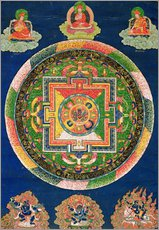 Gallery Print  Thangka of Mandala of Chakrasamvara in fierce form with red Prajna, Vajravarahi, 19th-20th century - Tibetan School