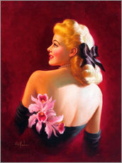 Gallery Print  Glamour Pin Up mit rosa Orchideen - Art Frahm