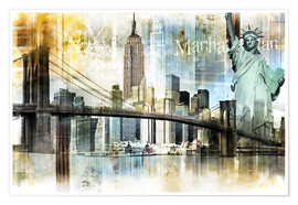 Premium-Poster  Skyline New York Abstrakt Fraktal - Städtecollagen