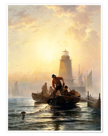 Premium-Poster  Fish Pond, Orient Bay, Long Island - Edward Moran
