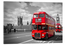 Acrylglasbild  Westminster Bridge and Red Buses - Melanie Viola