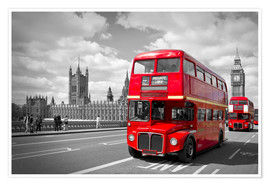 Premium-Poster  Westminster Bridge and Red Buses - Melanie Viola