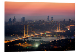 Acrylglasbild  Bosporus-Bridge at Night (Istanbul / Turkey) - gn fotografie