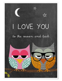 Premium-Poster Eulen - I love you to the moon and back