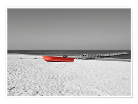 Premium-Poster Rotes Boot am Strand