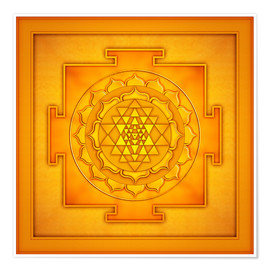 Premium-Poster Golden Sri Yantra - Artwork II