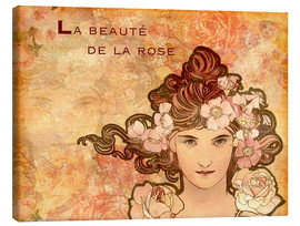 Leinwandbild  Rose, Collage - Alfons Mucha