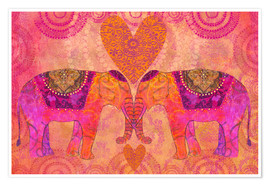 Premium-Poster Elephants in Love