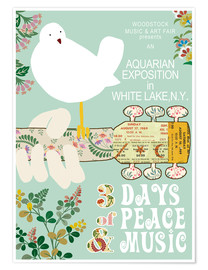 Premium-Poster  Woodstock-Collage in Mint - GreenNest