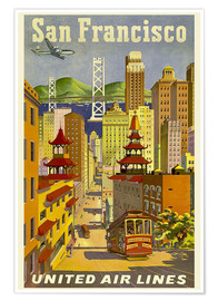 Premium-Poster  San Francisco United Airlines - Travel Collection