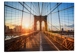 Alubild  Brooklyn Bridge in New York bei Sonnenaufgang - Jan Christopher Becke