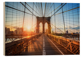 Holzbild  Brooklyn Bridge in New York bei Sonnenaufgang - Jan Christopher Becke