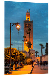 Acrylglasbild  The Minaret of Koutoubia Mosque illuminated at night, UNESCO World Heritage Site, Marrakech, Morocco - Martin Child