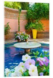 Acrylglasbild  Fountain and flowers in the Majorelle Gardens (Gardens of Yves Saint-Laurent), Marrakech, Morocco, N - Matthew Williams-Ellis