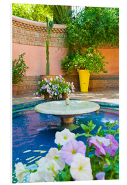 Hartschaumbild  Fountain and flowers in the Majorelle Gardens (Gardens of Yves Saint-Laurent), Marrakech, Morocco, N - Matthew Williams-Ellis
