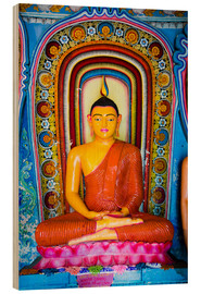 Holzbild  Colourful Buddha statue at Isurumuniya Vihara, Anuradhapura, UNESCO World Heritage Site, Sri Lanka,A - Matthew Williams-Ellis