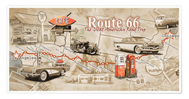 Poster  Route 66 Map - Georg Huber