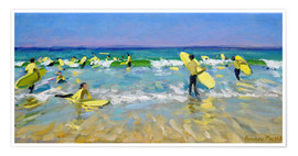 Premium-Poster  Surfschule in St. Ives - Andrew Macara