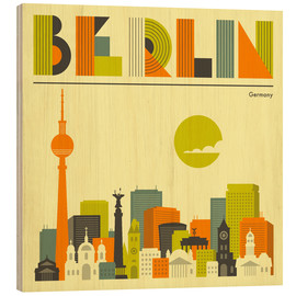 Holzbild  Berlin Skyline - Jazzberry Blue