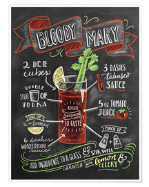 Premium-Poster  Bloody Mary Rezept (Englisch) - Lily & Val