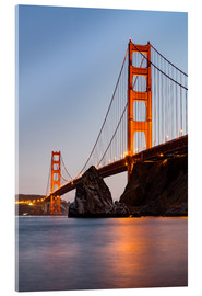 Acrylglasbild  San Francisco Golden Gate Bridge bei Sonnenuntergang