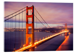 Acrylglasbild  Die Golden Gate Bridge in der Nacht, San Francisco