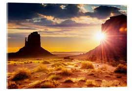 Acrylglasbild  Sonnenuntergang an den Schwestern in Monument Valley, USA