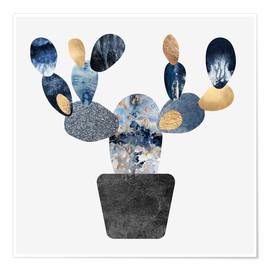 Poster Blue And Gold Cactus