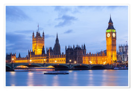 Poster  Big Ben und Westminster Bridge in London