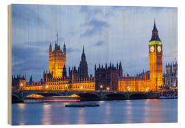 Holzbild  Big Ben und Westminster Bridge in London