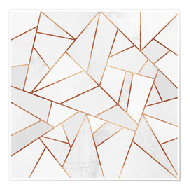 Poster  White Stone and Copper Lines - Elisabeth Fredriksson