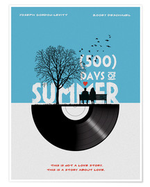 Poster  500 days of summer movie inspired illustration - Golden Planet Prints
