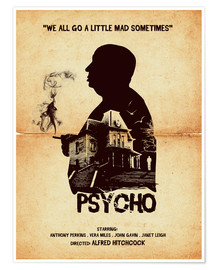 Poster  Psycho movie hitchcock silhouette art - Golden Planet Prints